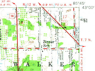 Reduced fragment of topographic map en--usgs--063k--054766--(1958)--N043-00_W086-00--N042-45_W085-45; towns and cities Jenison, Grandville, Hudsonville, Allendale