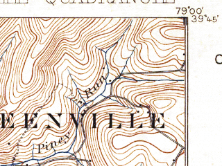 Reduced fragment of topographic map en--usgs--063k--054783--(1899)--N039-45_W079-15--N039-30_W079-00; towns and cities Barton, Grantsville
