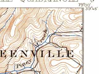 Reduced fragment of topographic map en--usgs--063k--054783--(1904)--N039-45_W079-15--N039-30_W079-00; towns and cities Barton, Grantsville