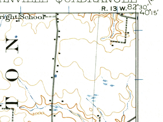 Reduced fragment of topographic map en--usgs--063k--054784--(1908)--N040-15_W082-45--N040-00_W082-30; towns and cities Pataskala, Alexandria, Beechwood Trails