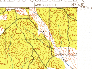 Reduced fragment of topographic map en--usgs--063k--054799--(1924)--N035-00_W088-00--N034-45_W087-45; towns and cities Cherokee
