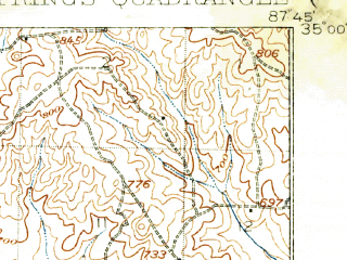 Reduced fragment of topographic map en--usgs--063k--054799--(1926)--N035-00_W088-00--N034-45_W087-45; towns and cities Cherokee