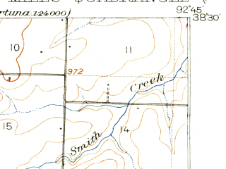 Reduced fragment of topographic map en--usgs--063k--054800--(1949)--N038-30_W093-00--N038-15_W092-45; towns and cities Gravois Mills, Stover, Versailles