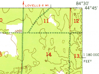 Reduced fragment of topographic map en--usgs--063k--054803--(1949)--N044-45_W084-45--N044-30_W084-30; towns and cities Grayling