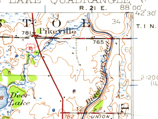 Reduced fragment of topographic map en--usgs--063k--054806--(1920)--N042-30_W088-15--N042-15_W088-00 in area of Fox Lake, Pistakee Lake, Grass Lake; towns and cities Mundelein, Round Lake Beach, Antioch, Fox Lake, Lindenhurst
