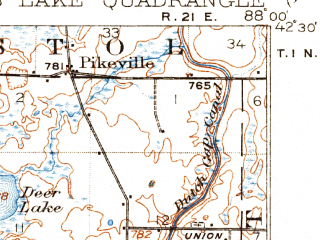 Reduced fragment of topographic map en--usgs--063k--054806--(1923)--N042-30_W088-15--N042-15_W088-00 in area of Fox Lake, Pistakee Lake, Grass Lake; towns and cities Mundelein, Round Lake Beach, Lindenhurst, Grayslake, Wauconda
