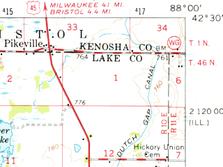 Reduced fragment of topographic map en--usgs--063k--054806--(1960)--N042-30_W088-15--N042-15_W088-00 in area of Fox Lake, Pistakee Lake, Grass Lake; towns and cities Mundelein, Round Lake Beach, Grayslake, Wauconda, Antioch