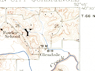 Reduced fragment of topographic map en--usgs--063k--054815--(1912)--N040-30_W093-00--N040-15_W092-45; towns and cities Green City, Greencastle