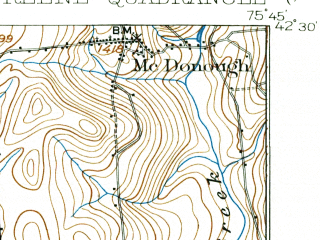 Reduced fragment of topographic map en--usgs--063k--054825--(1904)--N042-30_W076-00--N042-15_W075-45 in area of Whitney Point Lake; towns and cities Whitney Point, Greene