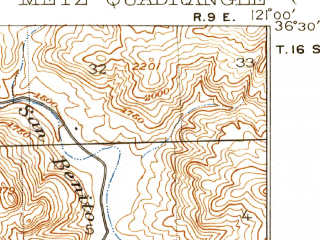 Reduced fragment of topographic map en--usgs--063k--054828--(1921)--N036-30_W121-15--N036-15_W121-00; towns and cities Greenfield