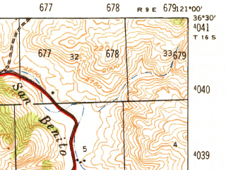 Reduced fragment of topographic map en--usgs--063k--054828--(1947)--N036-30_W121-15--N036-15_W121-00; towns and cities Greenfield