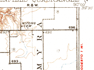 Reduced fragment of topographic map en--usgs--063k--054830--(1932)--N039-30_W090-15--N039-15_W090-00; towns and cities Chesterfield, Greenfield, Hettick