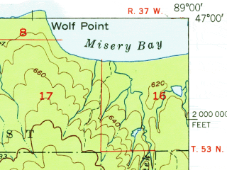 Reduced fragment of topographic map en--usgs--063k--054832--(1951)--N047-00_W089-15--N046-45_W089-00