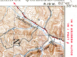 Reduced fragment of topographic map en--usgs--063k--054843--(1930)--N038-45_W083-00--N038-30_W082-45; towns and cities Wheelersburg, Greenup, South Shore, Wurtland