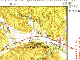 Reduced fragment of topographic map en--usgs--063k--054848--(1934)--N037-15_W090-30--N037-00_W090-15; towns and cities Greenville