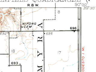 Reduced fragment of topographic map en--usgs--063k--054850--(1932)--N039-00_W089-30--N038-45_W089-15 in area of Governor Bond Lake; towns and cities Greenville, Mulberry Grove, Smithboro