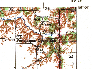 Reduced fragment of topographic map en--usgs--063k--054850--(1943)--N039-00_W089-30--N038-45_W089-15 in area of Governor Bond Lake; towns and cities Greenville, Mulberry Grove, Smithboro