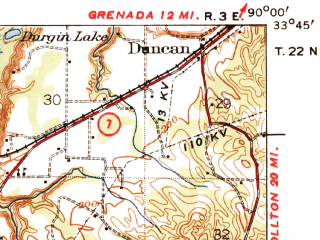 Reduced fragment of topographic map en--usgs--063k--054855--(1940)--N033-45_W090-15--N033-30_W090-00 in area of Mcintyre Lake; towns and cities Greenwood