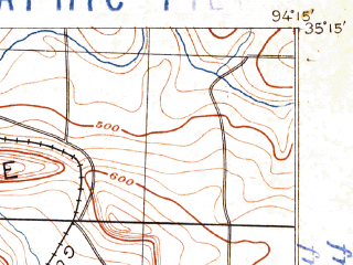 Reduced fragment of topographic map en--usgs--063k--054856--(1887)--N035-15_W094-30--N035-00_W094-15; towns and cities Hackett, Hartford, Huntington