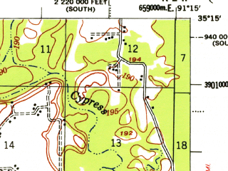 Reduced fragment of topographic map en--usgs--063k--054864--(1957)--N035-15_W091-30--N035-00_W091-15; towns and cities Cotton Plant, Georgetown