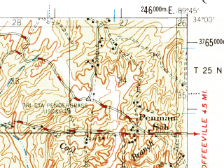 Reduced fragment of topographic map en--usgs--063k--054865--(1954)--N034-00_W090-00--N033-45_W089-45; towns and cities Grenada, Tillatoba