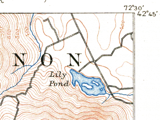Reduced fragment of topographic map en--usgs--063k--054866--(1890)--N042-45_W072-45--N042-30_W072-30 in area of Deerfield; towns and cities Greenfield, Shelburne Falls, Turners Falls