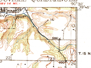 Reduced fragment of topographic map en--usgs--063k--054873--(1926)--N039-45_W090-45--N039-30_W090-30; towns and cities Milton, Time, Valley City