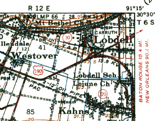 Reduced fragment of topographic map en--usgs--063k--054885--(1940)--N030-30_W091-30--N030-15_W091-15; towns and cities Addis, Brusly, Grosse Tete