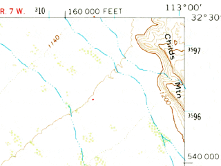 Reduced fragment of topographic map en--usgs--063k--054895--(1964)--N032-30_W113-15--N032-15_W113-00