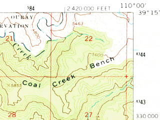 Reduced fragment of topographic map en--usgs--063k--054938--(1963)--N039-15_W110-15--N039-00_W110-00