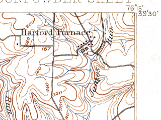 Reduced fragment of topographic map en--usgs--063k--054940--(1893)--N039-30_W076-30--N039-15_W076-15; towns and cities Dundalk, Middle River, Perry Hall, Edgewood, Joppatowne