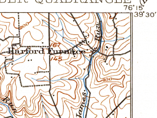 Reduced fragment of topographic map en--usgs--063k--054940--(1901)--N039-30_W076-30--N039-15_W076-15; towns and cities Dundalk, Middle River, Perry Hall, Edgewood, Joppatowne