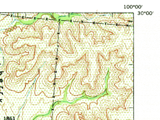 Reduced fragment of topographic map en--usgs--063k--054956--(1947)--N030-00_W100-15--N029-45_W100-00