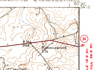 Reduced fragment of topographic map en--usgs--063k--054979--(1938)--N034-15_W080-45--N034-00_W080-30; towns and cities Lugoff