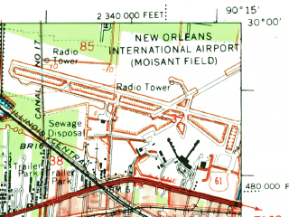 Reduced fragment of topographic map en--usgs--063k--054982--(1969)--N030-00_W090-30--N029-45_W090-15; towns and cities St. Rose, Destrehan, Lone Star, Luling, Mimosa Park