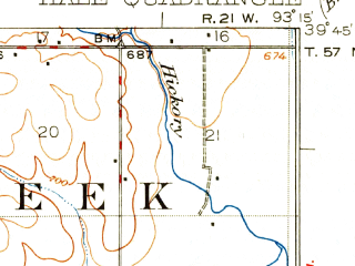 Reduced fragment of topographic map en--usgs--063k--054987--(1924)--N039-45_W093-30--N039-30_W093-15; towns and cities Hale, Tina