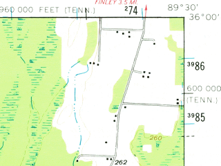 Reduced fragment of topographic map en--usgs--063k--054990--(1961)--N036-00_W089-45--N035-45_W089-30 in area of Open Lake