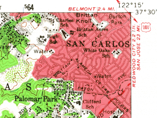 Reduced fragment of topographic map en--usgs--063k--054993--(1961)--N037-30_W122-30--N037-15_W122-15; towns and cities San Carlos, Half Moon Bay, Woodside, Emerald Lake Hills
