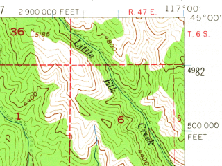 Reduced fragment of topographic map en--usgs--063k--054994--(1957)--N045-00_W117-15--N044-45_W117-00; towns and cities Halfway, Richland