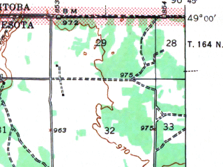 Reduced fragment of topographic map en--usgs--063k--055000--(1941)--N049-00_W097-00--N048-45_W096-45; towns and cities Hallock, Lancaster
