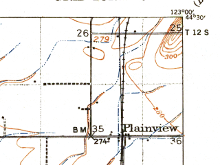 Reduced fragment of topographic map en--usgs--063k--055007--(1941)--N044-30_W123-15--N044-15_W123-00; towns and cities Halsey, Harrisburg