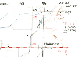 Reduced fragment of topographic map en--usgs--063k--055007--(1957)--N044-30_W123-15--N044-15_W123-00; towns and cities Harrisburg, Halsey