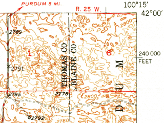 Reduced fragment of topographic map en--usgs--063k--055008--(1950)--N042-00_W100-30--N041-45_W100-15; towns and cities Halsey