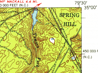 Reduced fragment of topographic map en--usgs--063k--055022--(1949)--N035-00_W079-45--N034-45_W079-30; towns and cities Hamlet, Dobbins Heights, Gibson