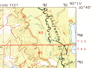 Reduced fragment of topographic map en--usgs--063k--055027--(1974)--N030-45_W090-30--N030-30_W090-15; towns and cities Hammond, Tickfaw, Natalbany