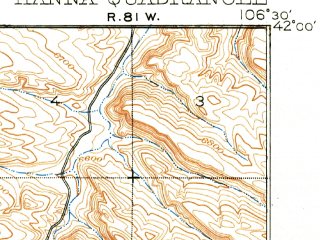 Reduced fragment of topographic map en--usgs--063k--055044--(1914)--N042-00_W106-45--N041-45_W106-30; towns and cities Hanna