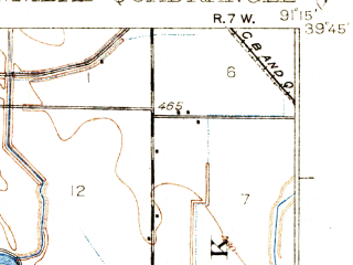 Reduced fragment of topographic map en--usgs--063k--055047--(1932)--N039-45_W091-30--N039-30_W091-15; towns and cities Hannibal, New London