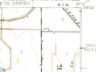 Reduced fragment of topographic map en--usgs--063k--055047--(1936)--N039-45_W091-30--N039-30_W091-15; towns and cities Hannibal, New London