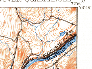 Reduced fragment of topographic map en--usgs--063k--055049--(1908)--N043-45_W072-30--N043-30_W072-15; towns and cities Lebanon, Hanover, White River Junction, Wilder