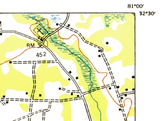 Reduced fragment of topographic map en--usgs--063k--055057--(1953)--N032-30_W081-15--N032-15_W081-00; towns and cities Hardeeville, Rincon